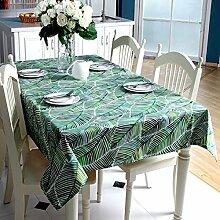 SNHWARE Tischdecke Mit Baumwolle Thick Canvas Verlässt Muster Und Helle Farbe Umweltschutz,A-100*140CM