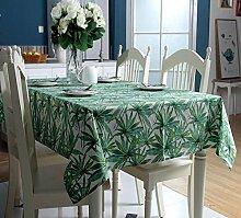SNHWARE Tischdecke Mit Baumwolle Thick Canvas Verlässt Muster Und Helle Farbe Umweltschutz,B-140*140CM