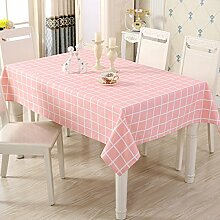SNHWARE Tischdecke Mit Einfacher Art-Leinwand-Wrinkle Free Dick Und Umweltschutz Helle Farbe,Pink-90*90cm