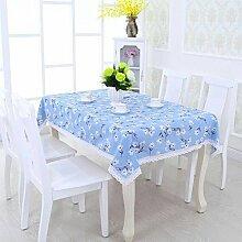 SNHWARE Tischdecke Mit Leinen Knitterfrei Dick Und Umweltschutz Durable,Blue-130*180CM