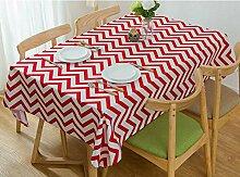 SNHWARE Tischdecke Mit Moderner Einfacher Baumwolle Verdickte Leinwandfarbe Streifen-Muster,Red-120x120