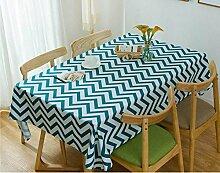 SNHWARE Tischdecke Mit Moderner Einfacher Baumwolle Verdickte Leinwandfarbe Streifen-Muster,DarkGreen-130x180