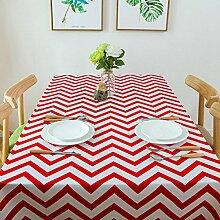 SNHWARE Tischdecke Mit Moderner Einfacher Baumwolle Verdickte Leinwandfarbe Streifen-Muster,Red-140X180CM