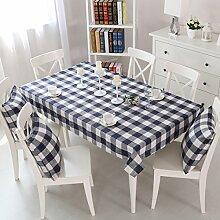 SNHWARE Tischdecke Mit Thick-Quadrat-Muster Knitterfrei Und Umweltschutz,Blue-90*90CM