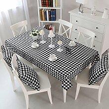 SNHWARE Tischdecke Mit Thick-Quadrat-Muster Knitterfrei Und Umweltschutz,Black-110*160CM