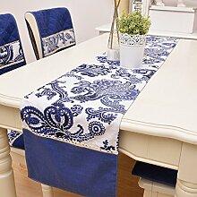 SNHWARE Tischfahne Mit Blauem Und Weißem Porzellan Kreativem Chinesischen Stil Tischdecke Baumwollgewebe Bedruckte Spitze,32*180CM-B