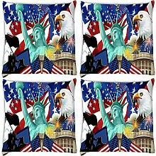 Snoogg Amerika Tapete 4Stück Digital Kissenbezug, bedruckt Kissen 35,6x 35,6cm
