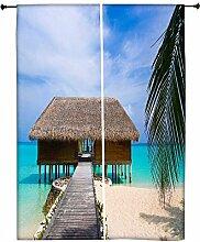 Snoogg Beach House Polyester Drapes Verdunklungsvorhänge 76,2cm W x 152,4cm L (Set von 2)