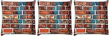 Snoogg Brick Tapete 3Stück Digital Kissenbezug, bedruckt Kissen 35,6x 35,6cm