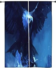 Snoogg Brüllender Eagle Polyester Drapes Verdunklungsvorhänge 76,2cm W x 152,4cm L (Set von 2)