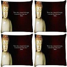 Snoogg Buddha Tapete 4Stück Digital Kissenbezug, bedruckt Kissen 40,6x 40,6cm