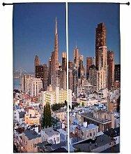 Snoogg Colorful Gebäude Polyester Drapes Verdunklungsvorhänge 76,2cm W x 152,4cm L (Set von 2)