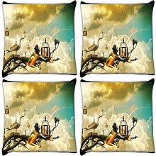 Snoogg Creative Tapete Ideen 4Stück Digital Kissenbezug, bedruckt Kissen 55,9x 55,9cm