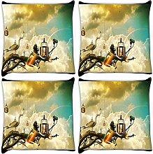 Snoogg Creative Tapete Ideen 4Stück Digital Kissenbezug, bedruckt Kissen 30,5x 30,5cm