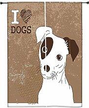 Snoogg Cute Jack Russell Terrier Brilliant Karte für doglovers Polyester Drapes Verdunklungsvorhänge 76,2cm W x 152,4cm L (Set von 2)