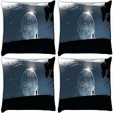 Snoogg Fantasy Tapete 4Stück Digital Kissenbezug, bedruckt Kissen 30,5x 30,5cm