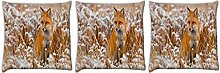 Snoogg Fox in Weiß Garten 3Stück Digital Kissenbezug, bedruckt Kissen 45,7x 45,7cm