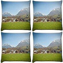 Snoogg Garten entlang der City 4Stück Digital Kissenbezug, bedruckt Kissen 55,9x 55,9cm
