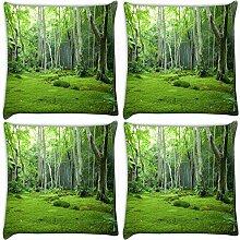 Snoogg grün Garten 4Stück Digital Kissenbezug, bedruckt Kissen 30,5x 30,5cm