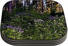 Snoogg grün und lila Pflanzen Quadrat Tisch 4Stück Untersetzer/Tisch und Küche Zubehör-Set für Getränke Set quadratisch, 4Stück handgefertigt Untersetzern aus Holz