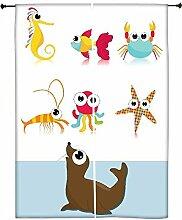Snoogg Hintergrund mit Sea Animal Polyester Drapes Verdunklungsvorhänge 76,2cm W x 152,4cm L (Set von 2)