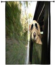Snoogg Hund mit Brille Polyester Drapes Verdunklungsvorhänge 76,2cm W x 152,4cm L (Set von 2)