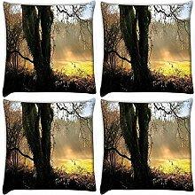 Snoogg kleinen Garten in Forest 4Stück Digital Kissenbezug, bedruckt Kissen 45,7x 45,7cm