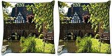 Snoogg Lake Seite Garten 2Stück Digital Kissenbezug, bedruckt Kissen 61x 61cm