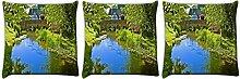 Snoogg Lake Seite Garten 3Stück Digital Kissenbezug, bedruckt Kissen 55,9x 55,9cm