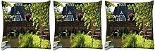 Snoogg Lake Seite Garten 3Stück Digital Kissenbezug, bedruckt Kissen 50,8x 50,8cm