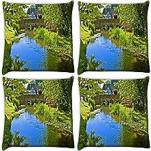 Snoogg Lake Seite Garten 4Stück Digital Kissenbezug, bedruckt Kissen 35,6x 35,6cm