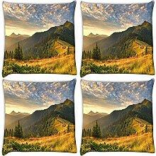 Snoogg orange Garten 4Stück Digital Kissenbezug, bedruckt Kissen 55,9x 55,9cm