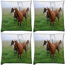 Snoogg Pferde im Garten 4Stück Digital Kissenbezug, bedruckt Kissen 55,9x 55,9cm