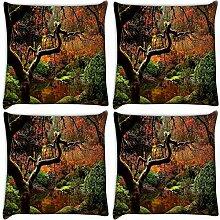 Snoogg Pfund in Garten 4Stück Digital Kissenbezug, bedruckt Kissen 30,5x 30,5cm