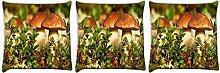 Snoogg Pilz im Garten 3Stück Digital Kissenbezug, bedruckt Kissen 55,9x 55,9cm