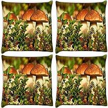 Snoogg Pilz im Garten 4Stück Digital Kissenbezug, bedruckt Kissen 35,6x 35,6cm