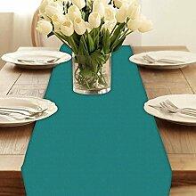 Snoogg Pixel Art türkis modern digital Muster Tischläufer Poly Baumwolle Leinwand gedruckt Stoff Tisch Top Dekoration Home Decor 27,9x 213,4cm