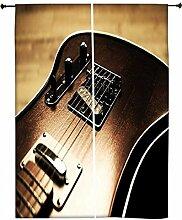 Snoogg Rock Guitar Polyester Drapes Verdunklungsvorhänge 76,2cm W x 152,4cm L (Set von 2)