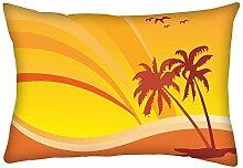 Snoogg Summer Design mit Palm Baum und Regenbogen Hintergrund Rechteck Überwurf Werfen Kissenbezug, Decoarative Kissen Fall 30,5x 50,8cm