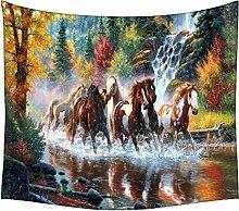 Snoogg Wandteppich, Pferd, indisches Mandala, abstrakte Kunst, Wandbehang, Dekoration für Wand, Tuch für Strand/ Picknick, Hippie-Stil, Bohemian