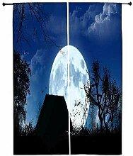 Snoogg weiß Moon Polyester Drapes Verdunklungsvorhänge 76,2cm W x 152,4cm L (Set von 2)