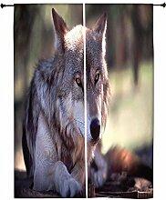 Snoogg Wolfy Hund Polyester Drapes Verdunklungsvorhänge 76,2cm W x 152,4cm L (Set von 2)