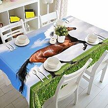 SnowFig Tischdecke 3D Pferd Landschaft Samt Leinen