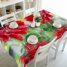 SnowFig Tischdecke 3D Rote Blume Samt Leinen