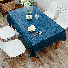 SnowFig Tischdecke Blaue Baumwolle und Leinen