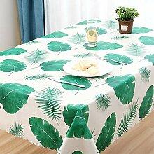 SnowFig Tischdecke Grünes Blattmuster Weiße PVC