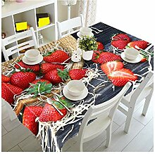SnowFig Tischdecken Samt Leinen 3D Erdbeer Muster