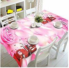 SnowFig Tischdecken Samt Leinen 3D rosafarbene