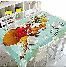 SnowFig Tischdecken Samt Leinen 3D Weihnachtsmann