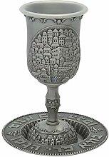 SNSArts & Judaica Becher aus Zinn, 15 cm, mit Stiel